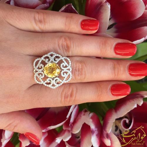 انگشتر طلاسفید زنانه با نگین یاقوت زرد