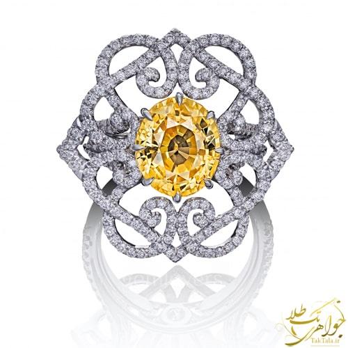 انگشتر یاقوت زرد زنانه طلا و جواهر