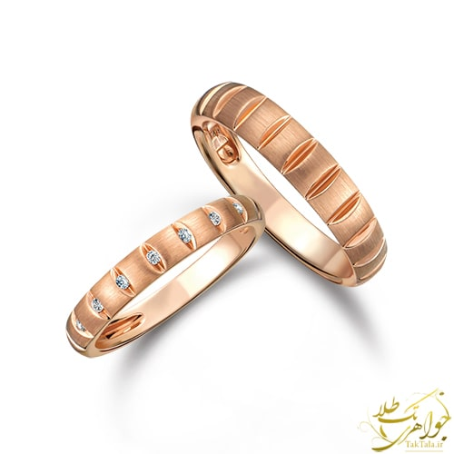 حلقه ست ازدواج رزگلد طلا و جواهر