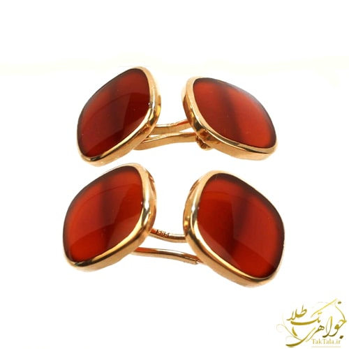 دکمه سر دست مردانه طلا و سنگ عقیق یمن