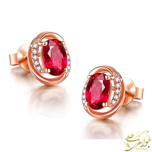 گوشواره یاقوت سرخ اصل و برلیان طلا و جواهر