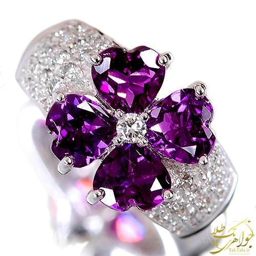 انگشتر آمتیست قلبی طلا زنانه