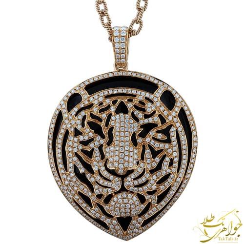 گردنبند ببر طلا و جواهر زنانه با سنگ اونیکس