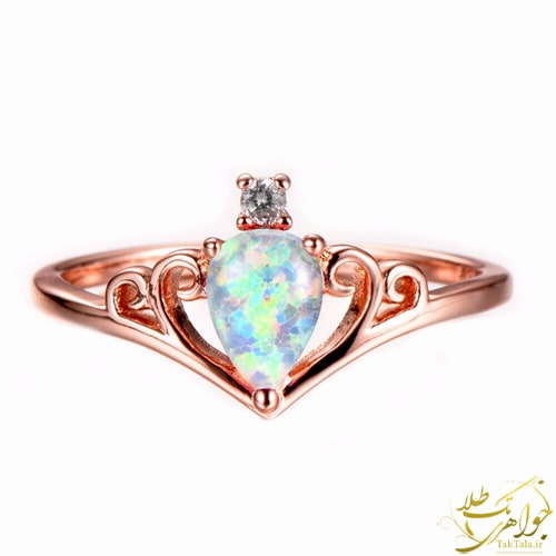 انگشتر اوپال اصل دخترانه طلا و جواهر