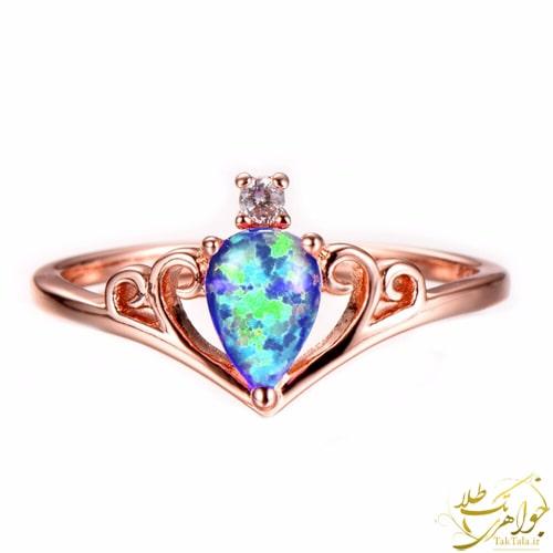 انگشتر اوپال سبز دخترانه طلا و جواهر