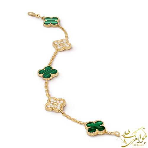 دستبند طلا زرد زنانه مالاکیت و بریان ونکلیف