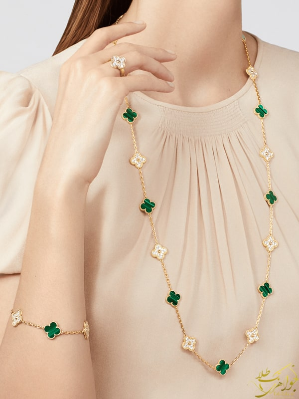 مدل دستبند و گردنبند ونکلیف با سنگ مالاکیت
