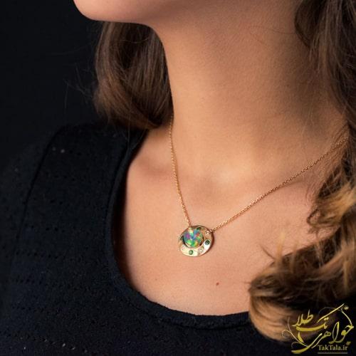 گردنبند اوپال طلا و جواهر زنانه