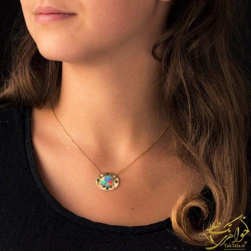 گردنبند طلا زنانه با نگین اوپال و زمرد و برلیان