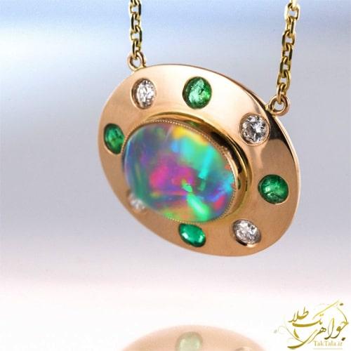 گردنبند طلا با سنگ اوپال اصل طلا و جواهر