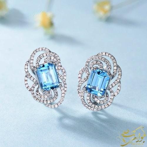 گوشواره طلا و جواهر زنانه با نگنتوپاز آبی