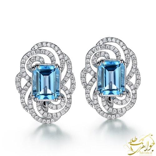 گوشواره توپاز آبی زنانه و الماس تراش برلیان