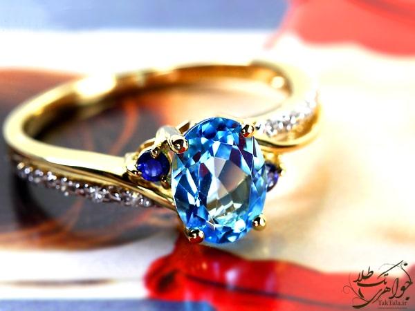 انگشتر توپاز آبی اصل زنانه طلا و جواهر