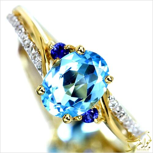 انگشتر توپاز آبی زنانه طلا و جواهر