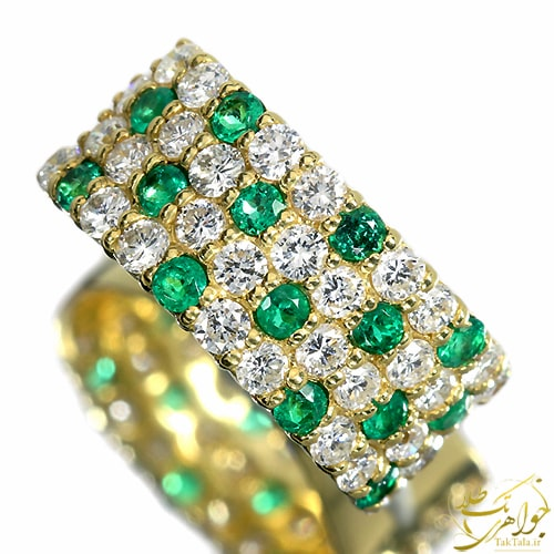 انگشتر زمرد و برلیان زنانه طلا و جواهر