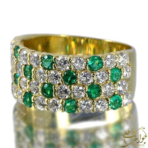 انگشتر زنانه زمرد سبز و برلیان