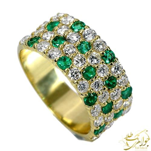 انگشتر طلا زنانه زمرد و برلیان