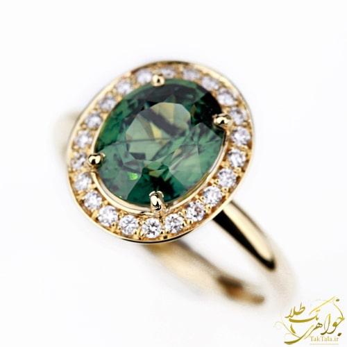 انگشتر طلا زنانه یاقوت سبز و الماس تراش برلیان