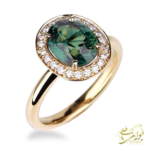 انگشتر یاقوت سبز زنانه طلا و جواهر