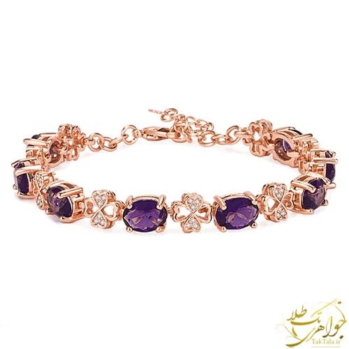 دستبند طلا و جواهر زنانه با نگین آمتیست و برلیان