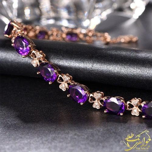 دستبند جواهر زنانه آماتیست اصل و برلیان
