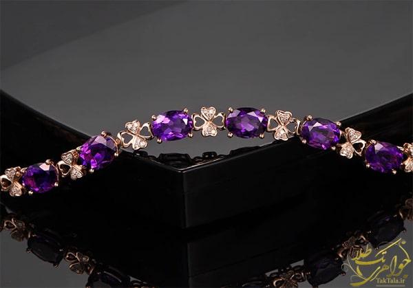 دستبند طلا زنانه با نگین آماتیست و برلیان