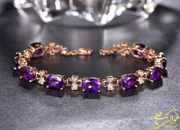 دستبند زنانه آماتیست رزگلد و برلیان