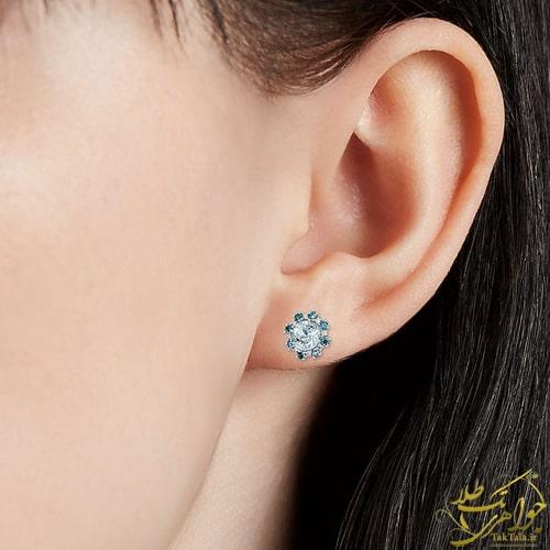 مدل گوشواره میخی زنانه آکوامارین آبی