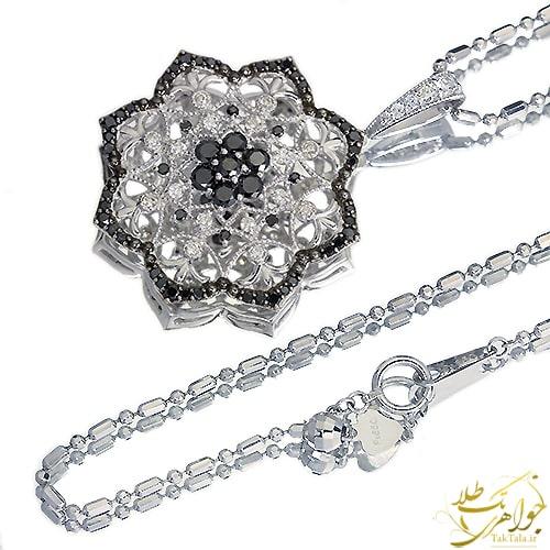 گردنبند طلا و جواهر زنانه با نگین برلیان سیاه و سفید