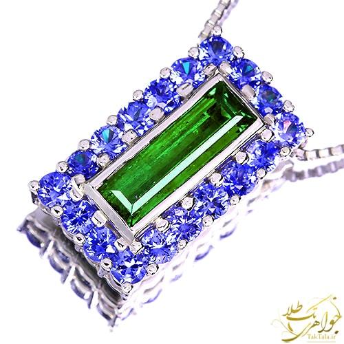 گردنبند تورمالین سبز و یاقوت کبود طلا و جواهر