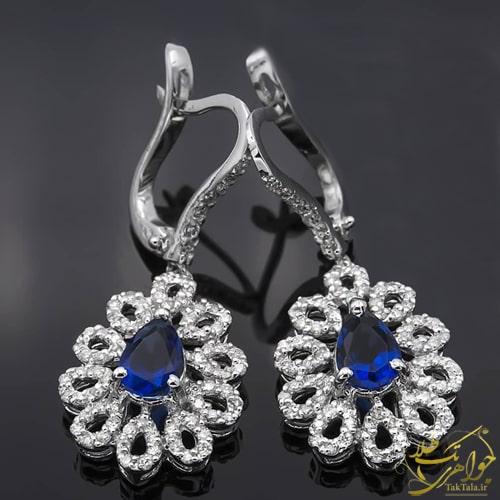 گوشواره جواهر یاقوت کبود زنانه و الماس تراش برلیان