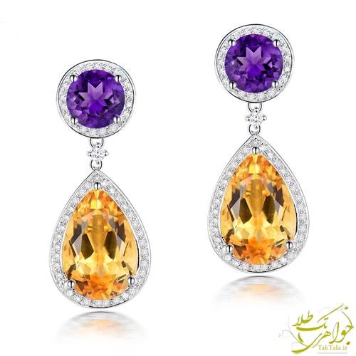گوشوار طلا و جواهر زنانه با نگین سیترین و آماتیست