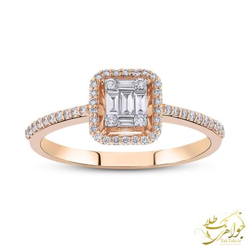 انگشتر باگت برلیان طلا و جواهر زنانه