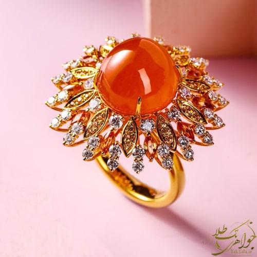 انگشتر جواهر زنانه عقیق یمانی اصل و برلیان