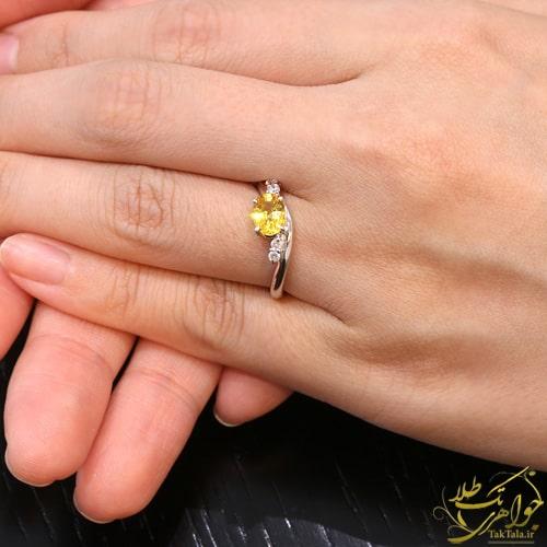 مدل انگشتر جواهر یاقوت زرد زنانه
