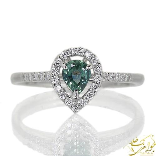 انگشتر طلا سفید یاقوت سبز و الماس تراش برلیان