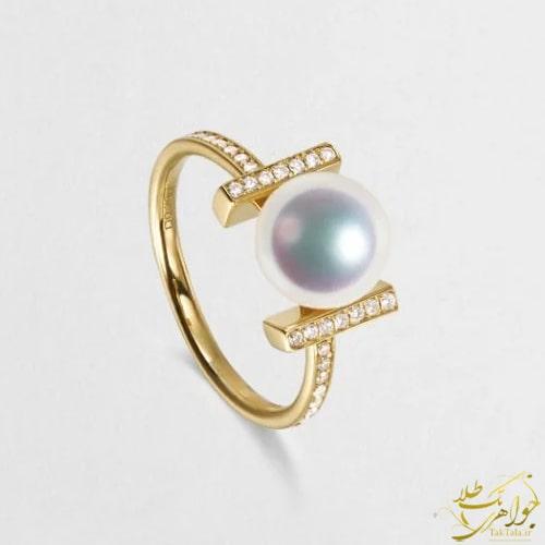 انگشتر طلا با نگین مروارید سفید اصل و الماس تراش برلیان