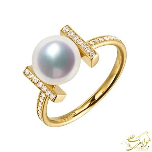 انگشتر مروارید سفید اصل طلا و جواهر
