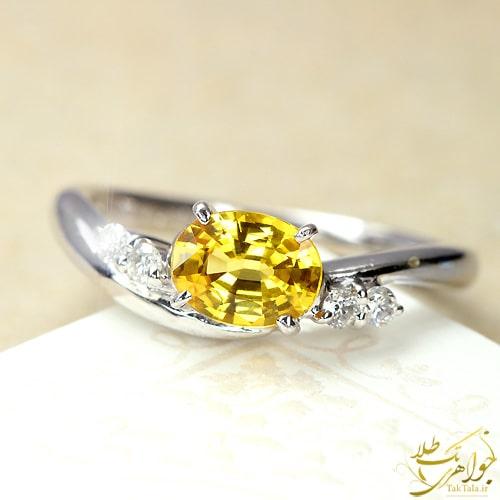 انگشتر یاقوت زرد اصل و الماس تراش برلیان