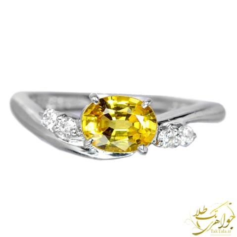 انگشتر یاقوت زرد زنانه طلا سفید و برلیان