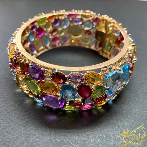 دستبند النگویی طلا و جواهر زنانه مولتی کالر