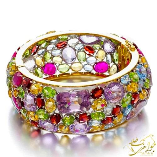 دستبند مولتی کالر طلا و جواهر زنانه مدل النگویی