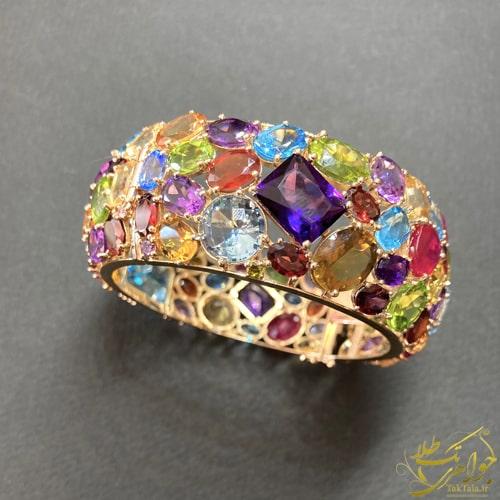 مدل دستبند النگویی طلا و جواهر زنانه مولتی کالر