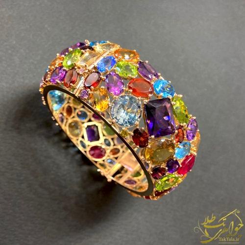 دستبند طلا زنانه رنگارنگ مولتی کالر