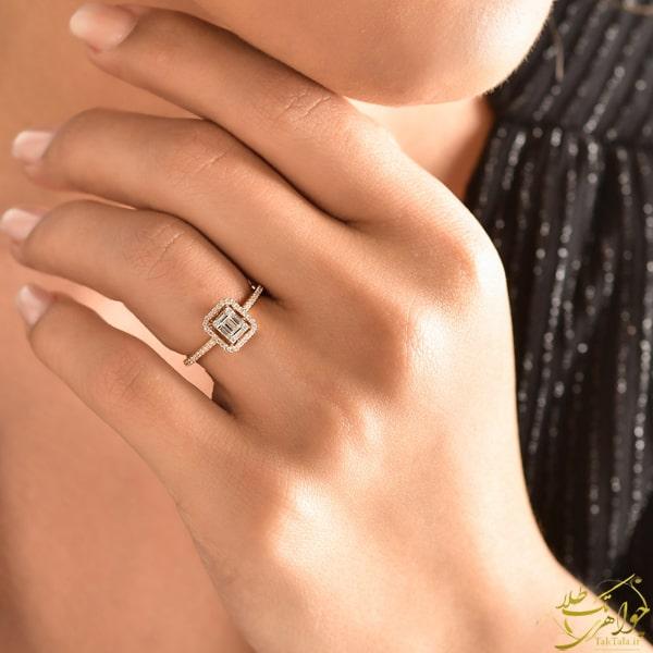 مدل انگشتر باگت زنانه طلای رزگلد و برلیان