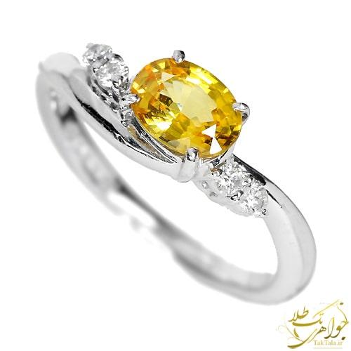 مدل انگشتر یاقوت زرد زنانه طلا و چواهر